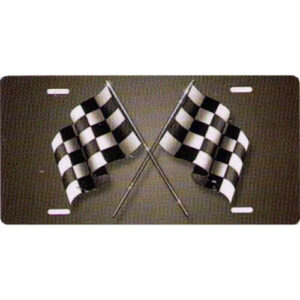Racing Checkered Flags On Grey Background Novelty License Plate-t2730c