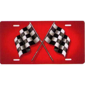 Racing Checkered Flags On Red Background Novelty License Plate-t2730a